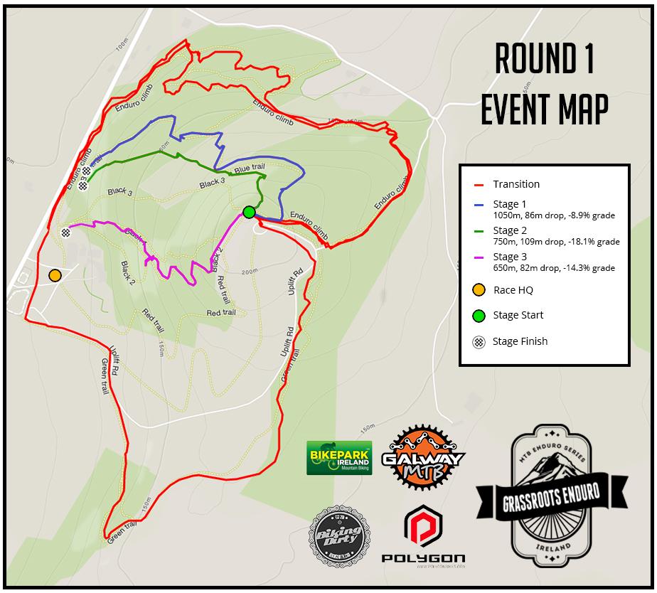 Round 1 Bikepark Ireland Event Map