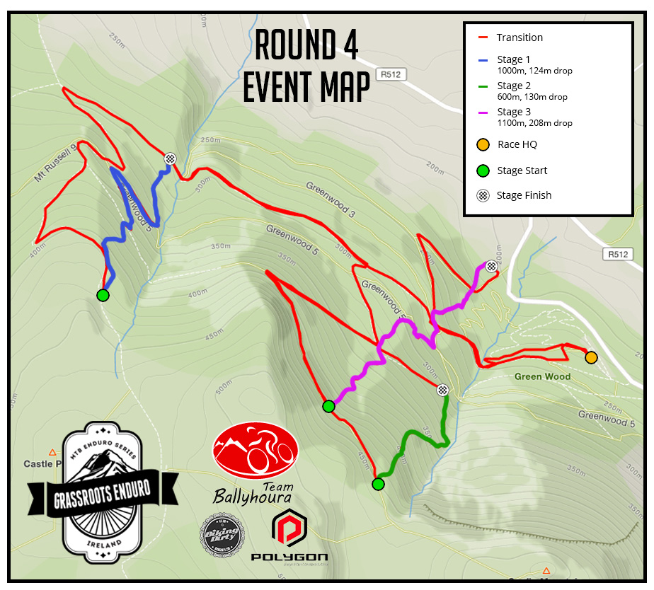 Ballyhoura race map for Round 4 Grassroots Enduro Series