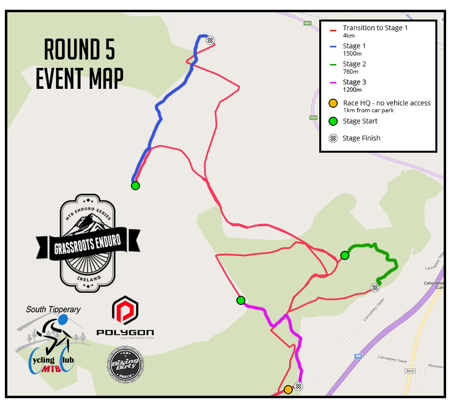 Cahir race trail map for Round 5 Grassroots Enduro Series